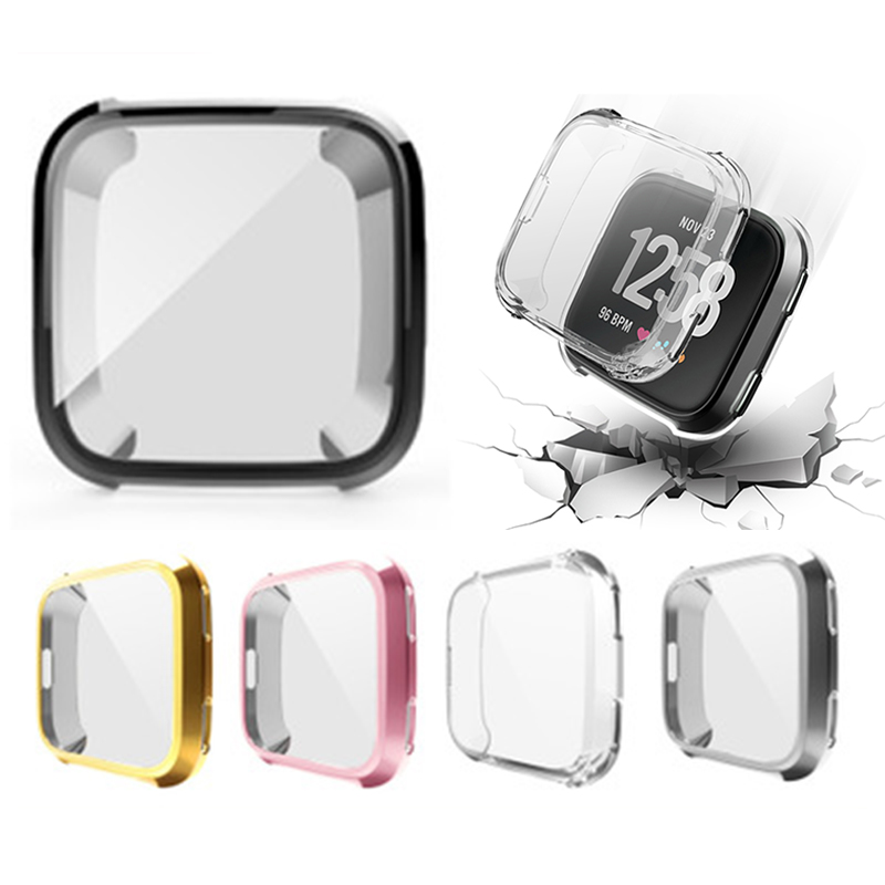 TPU Silicone Case Smart Watch Anti-Scratch Screen Protector  Shell Plating Ultra-Thin Soft Cover For Fitbit Versa Band Sport