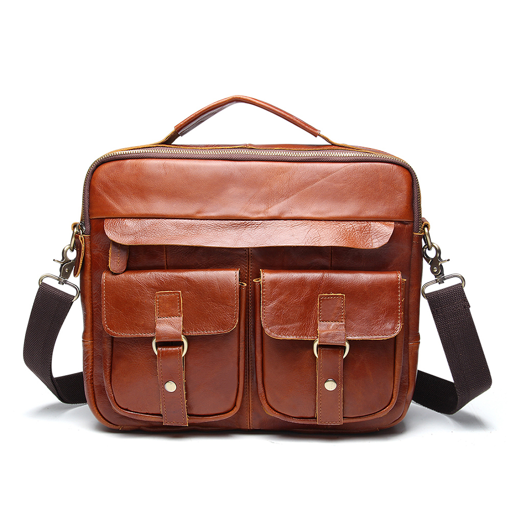 Men s Briefcase Genuine Leather Briefcase Big Real Leather Laptop Tote Bag Cow Leather Business Bag