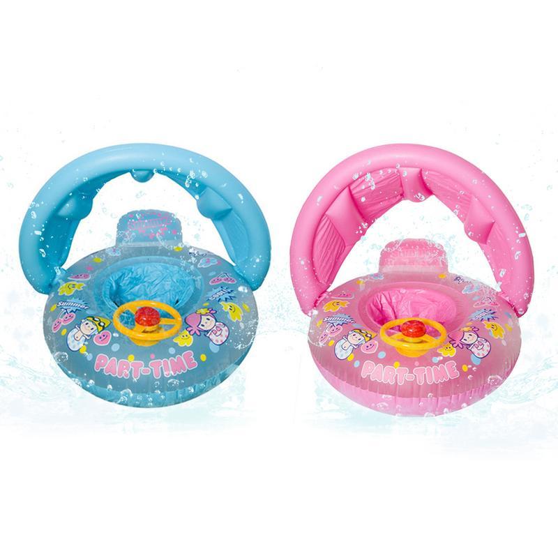 Baby Sunshade Thickening Swimming Boat Cartoon Children Inflatable Swimming Float Steering Wheel Baby Seat Float