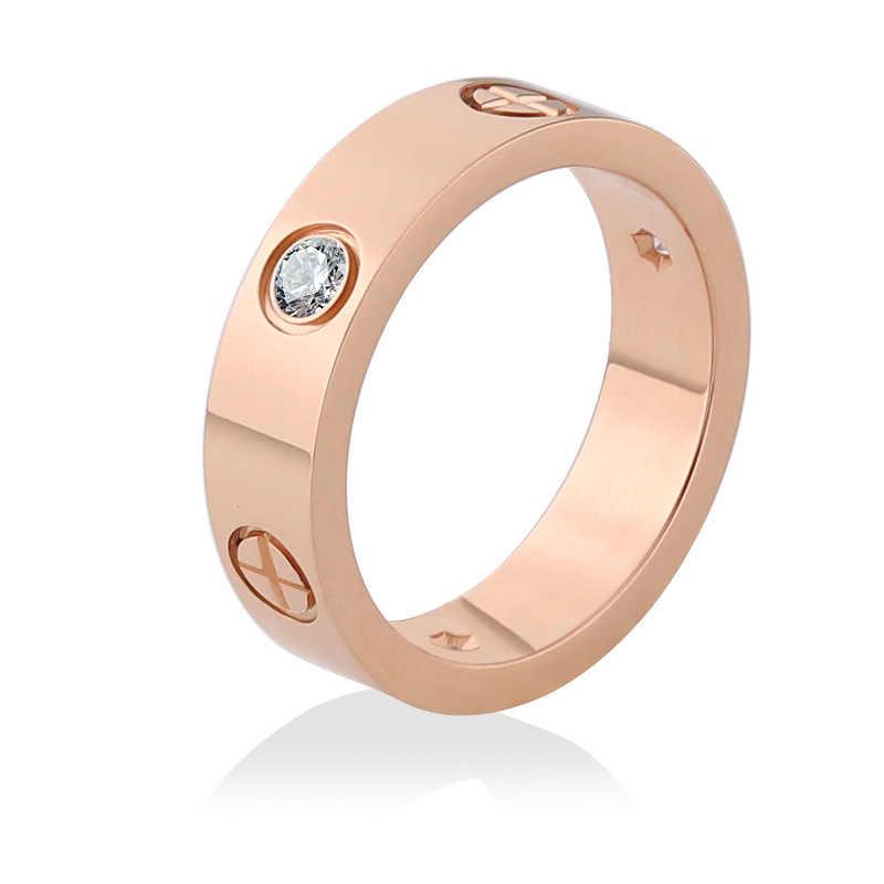 Gül altın paslanmaz çelik yüzük kadın için kristal ile takı yüzükler erkekler düğün Promise yüzükler kadın için kadın hediyeler nişan