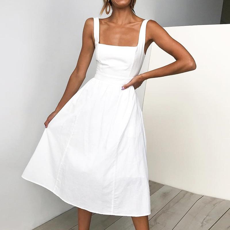 2019 Women Casual Summer Dress Strapless Spaghetti Strap Mid-Calf Dresses Women Fashion Vestidos Ladies Elegant Dresses Sundress