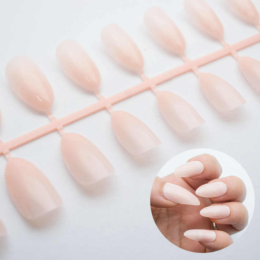 100pcspack Ballerina Nail Art Tips WhiteClearNatural