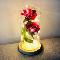 Crystal Enchanted Rose Flower Figurine Dreams Ornament Glass Dome Gifts For Lover's Chrismas New Year Room Desk Decorations