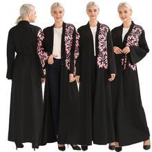 אלגנטי מוסלמי הדפסת העבאיה מקסי שמלת קרדיגן Swing ארוך שמלות גלימת חגורה טוניקת אמצע מזרח הרמדאן דובאי הערבי האסלאמי תפילה