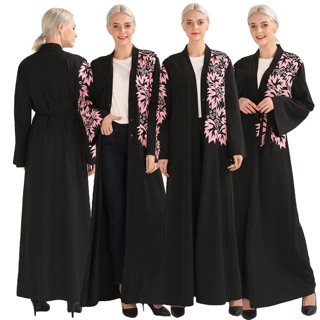 우아한 이슬람 인쇄 abaya 맥시 드레스 카디건 스윙 긴 가운 가운 벨트 튜닉 중동 라마단 두바이 아랍 이슬람기도