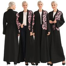 Élégant musulman imprimer Abaya Maxi Robe Cardigan Swing longue Robe robes ceinture tunique moyen orient Ramadan dubaï arabe islamique prière
