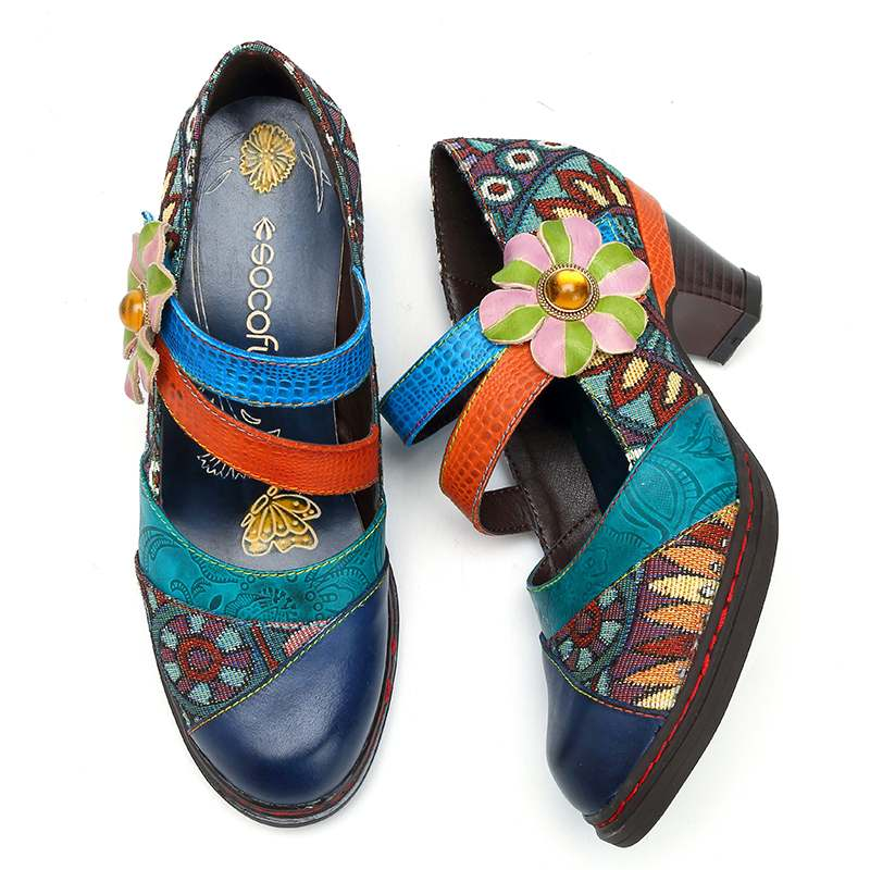 Socofy Retro Bohemian ผู้หญิงปั๊มรองเท้าผู้หญิงฤดูใบไม้ผลิฤดูใบไม้ร่วงหนังแท้บล็อกรองเท้าส้นสูงสุภาพสตรีรองเท้าผู้หญิง Plus ขนาด-ใน รองเท้าส้นสูงสตรี จาก รองเท้า บน   2