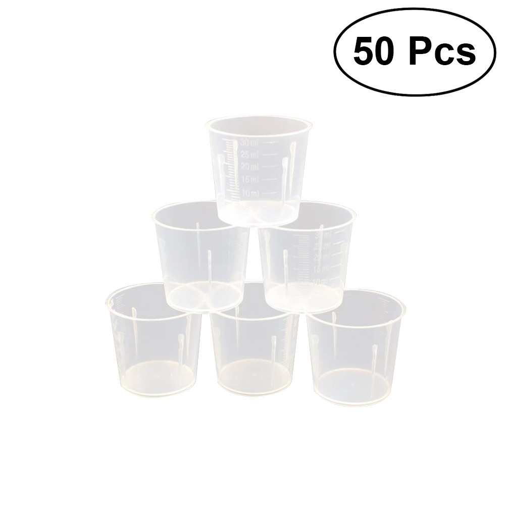 50pcs 30ml Plastic Graduated Cups Measuring Scale Cups Transparent Lab Liquid Container For Mixing Paint Stain Epoxy Resin