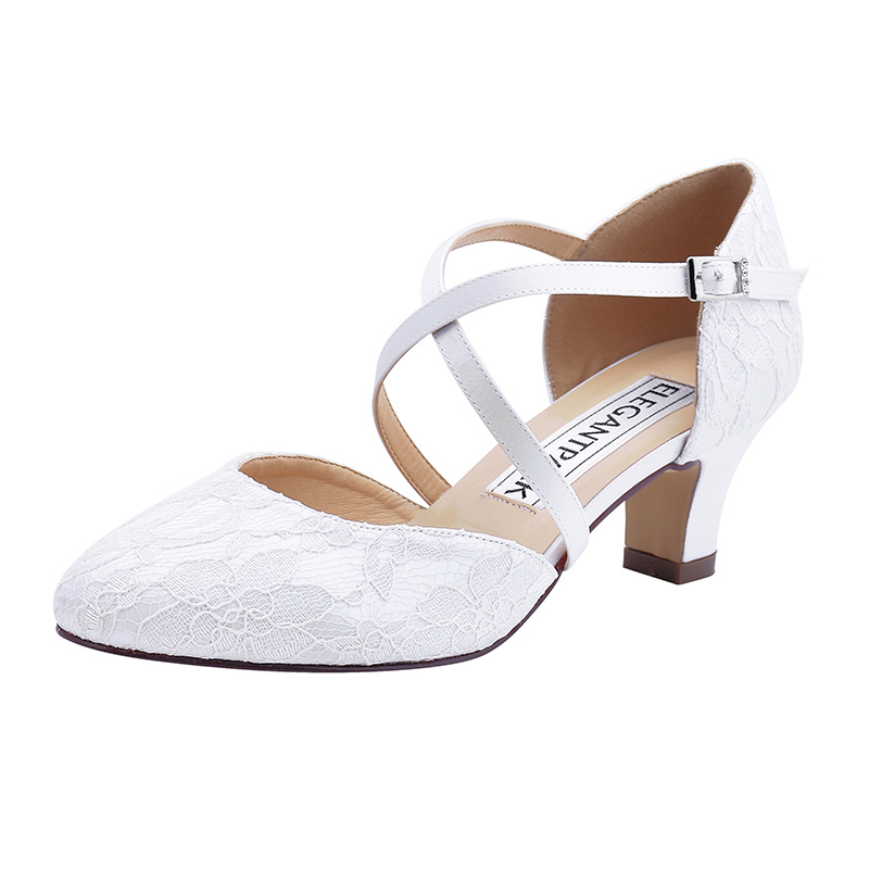 Blanc ivoire femmes chaussures mariage mariée croix sangle chunky talon confortable mariée robe de bal pompes dame mariée demoiselle d'honneur HC1920