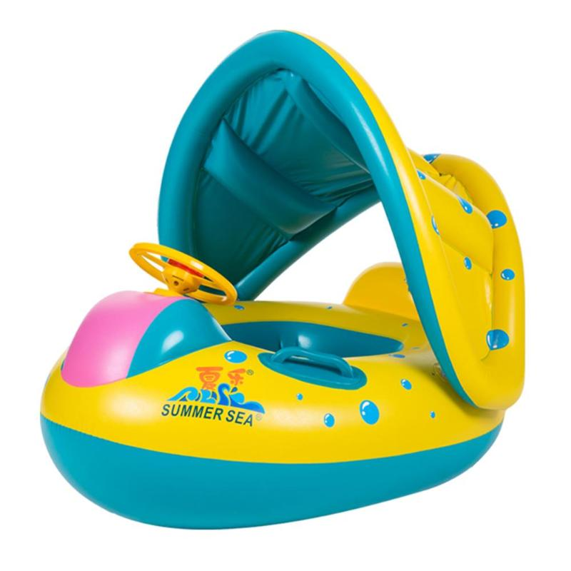 Kids Swimming Ring Yacht Portable Summer Safety Inflatable Baby Swim Pool Toy Sunshade Floating Seat Float Boat Water Sports Toy