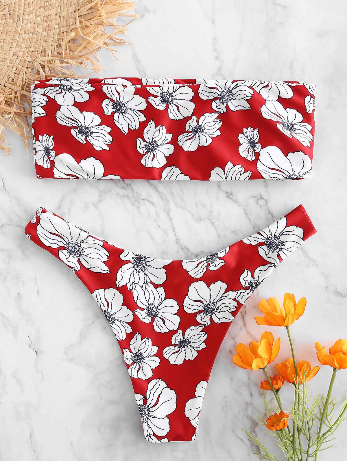 Zaful Wanita Bikini Set Bunga Cetak Tinggi Dipotong Bandeau Bikini Wanita Seksi Bikini Baju Renang Musim Panas Pantai Baju Renang Baju Renang