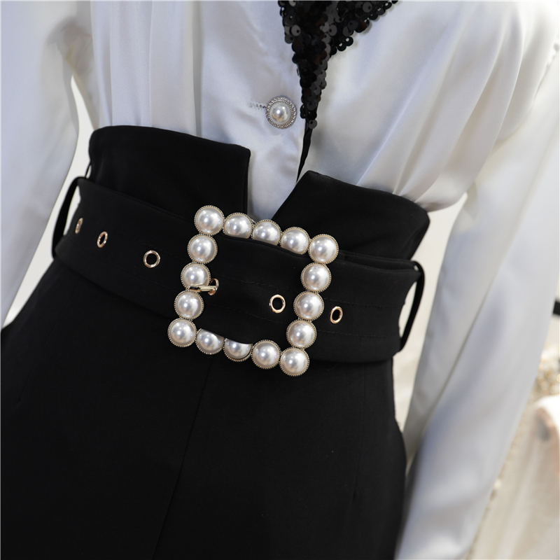 Pantalons And Pants Costume Printemps Deux Top Chemisier Pièces Ceinture Pantalon Femmes Nouvelle Manches Perle Satin Longues Haute Paillettes Taille 2019 Couture q17fHwnRTx