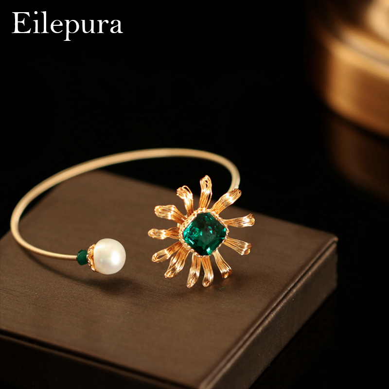Eilepura Handmade Natural Fresh Water Pearl Natural Stone Adjustable Bracelet For Women Engagement Jewelry B A006
