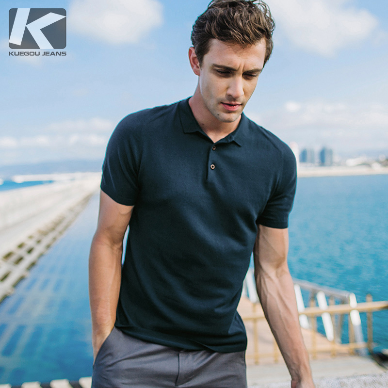 KUEGOU New Summer Mens Casual   Polo   Shirts Green Color Brand Clothing Man's Short Sleeve Clothes Male Wear Slim Fit Tops 17047