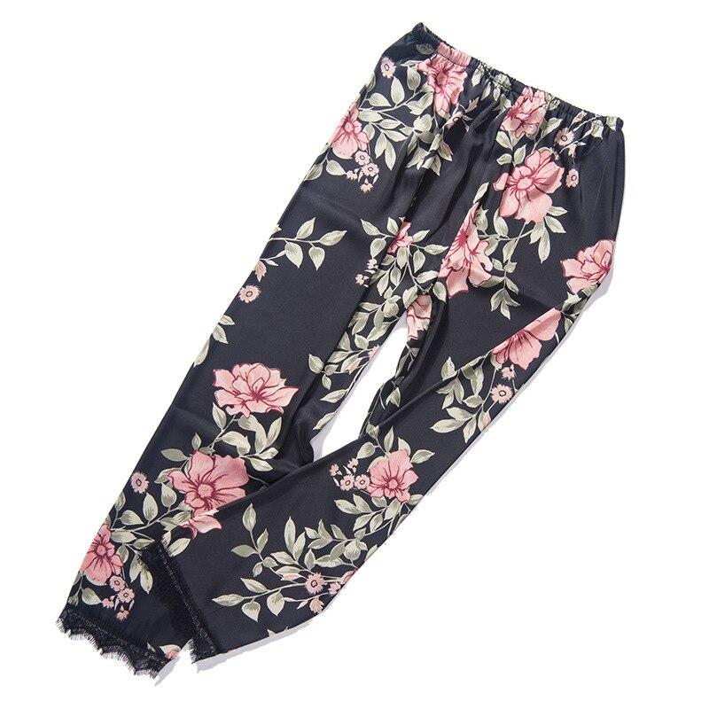 Autumn Soft Women's Sexy Silk Print Pajamas Fashion Casual High Waist Loose Sleep Pants