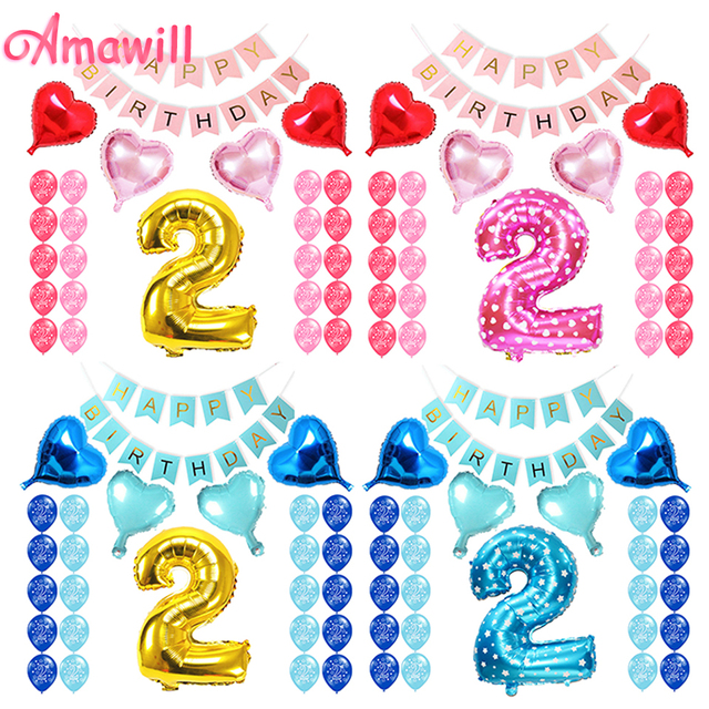 Amawill Baby Boy Girl 2 Years Old Happy Birthday Banner Pink Blue Gold Foil Balloons Party Decoration For Kids 8D