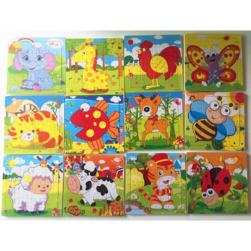 DDWE 16 шт. 3D головоломки Детские деревянные игрушки дети мультфильм Животные Пазлы детские развивающие игрушки для детей подарки Обучающие игры
