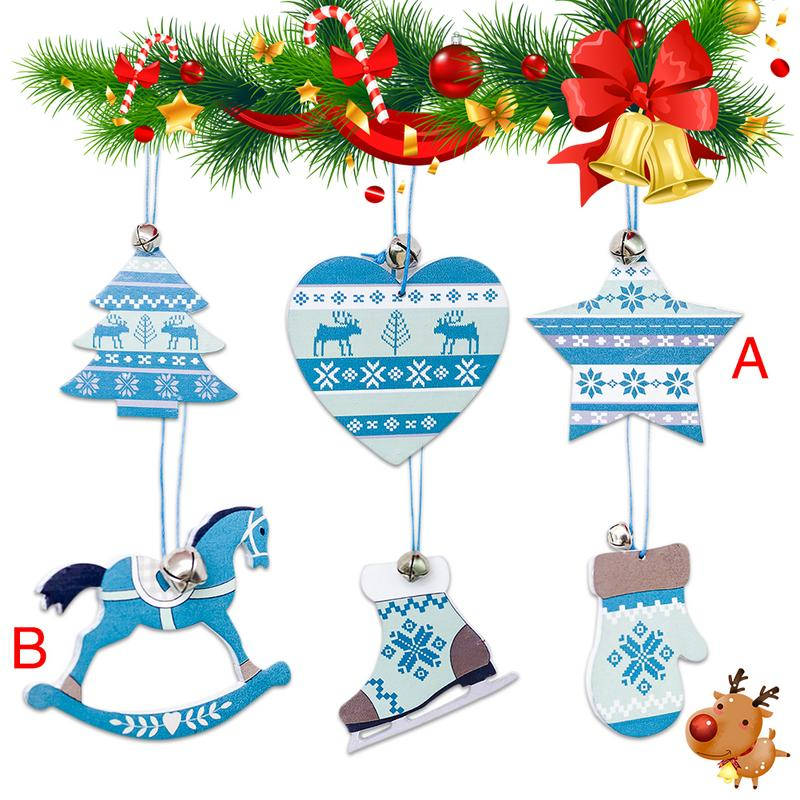 Colorful Christmas Ornaments Drawings.Nordic Style Christmas Innovative Wooden Home Living Bell Decor Pendant Xmas Tree Decoration Blue Colored Drawing Card Pendants
