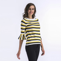 Autumn 2019 Women O neck Ruffles Sleeve Knitted Sweaters Pullover Loose Casual Knitwear Jumper Tops Sexy Red Blue Ladies Sweater
