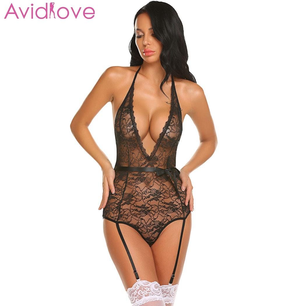 f36e865b23b Detail Feedback Questions about Avidlove Women Sexy Costumes Bodysuit Body  Stocking Sexy Lingerie Lace Teddy With Garter Belts Summer Nightwear on ...