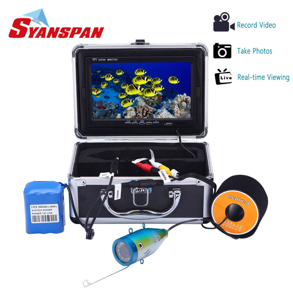 SYANSPAN 7 Fish Finder IP68 HD 1000TVL DVR Recording Edition Underwater Fishing Video Camera with 12PCS