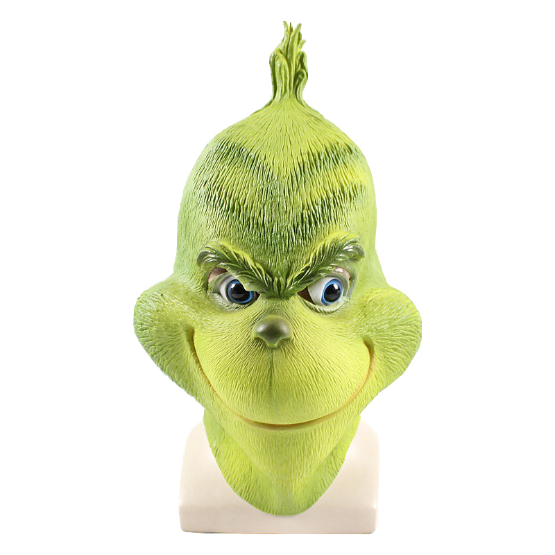 Stole Grinch Mask Cosplay Christmas Full Face Latex Mask Funny Party Costume Mask With Further Helmet Headgear Halloween Props