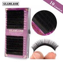 GLAMLASH 10 Cases/Lot 16Rows natural faux mink lovely eyelash extension korea pbt fake eye lashes soft makeup maquiagem cilios