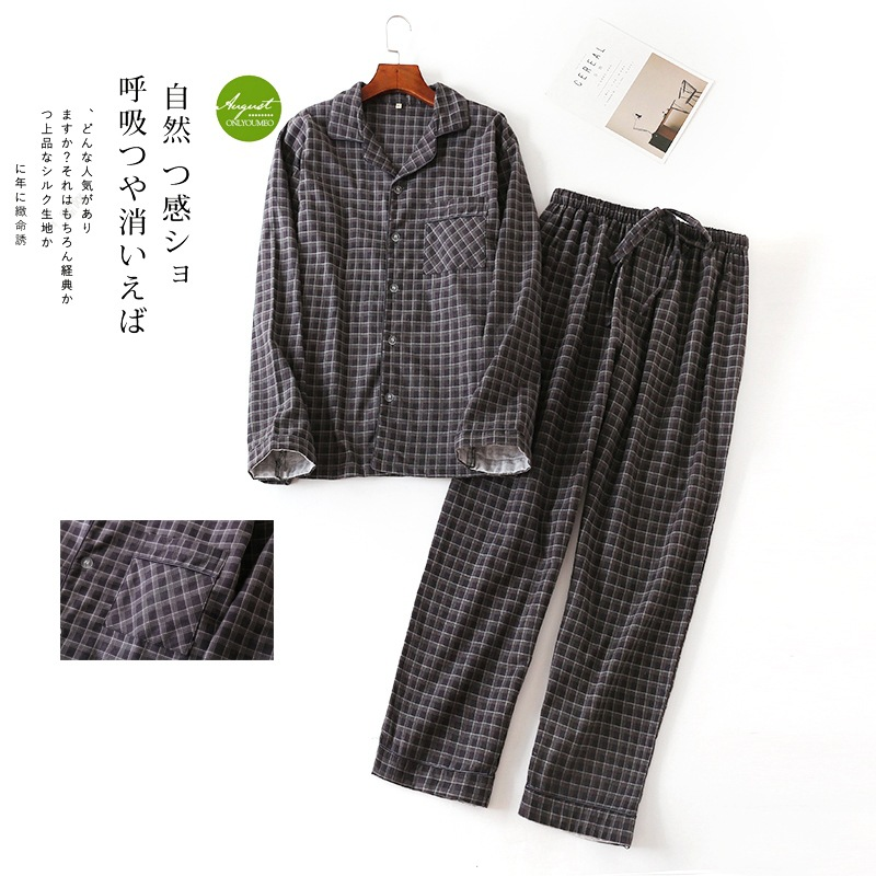 Pure Cotton Men's Autumn&winter Long-sleeved Trousers Pajama Suits Plaid Sleepwear Men Pajama Set Mansleepwear Flannel Pyjama(China)