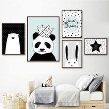Животные Корона панда холст картина стены искусства Детская