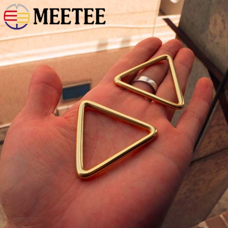 Meetee 1/2pcs Pure Brass Ring 40MM Metal Belt Buckle for Clothing Band Backpack Straps Connection Hardware DIY Accessories AP664
