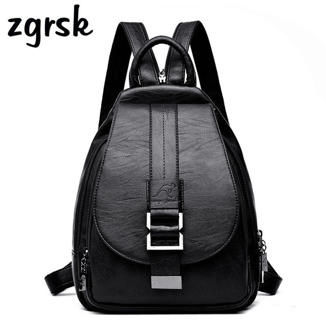 a9c4de388c14 Women Leather Backpacks Vintage Female Shoulder Bag Travel Ladies Bagpack  Mochilas School Bags Kanken Backpack Eastpack