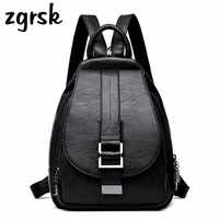 f791ccb97586 Женские кожаные рюкзаки, винтажная женская сумка на плечо, женский рюкзак  Mochilas, школьные сумки
