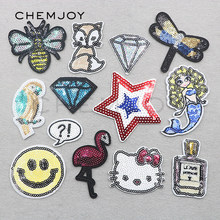 Mermaid Sequin Patch for Clothing Iron on Jacket Bee Patches Sew Applique Clothes Stickers for Anime Badges for Backpacks Shoes(China)