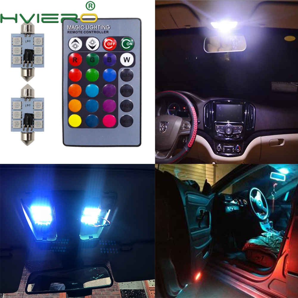 2X RGB 5050 6SMD Festoon Light C5w Dome Light Car Led Automobile Auto Light Remote Controlled Colorful Reading Lamp Door Bulbs