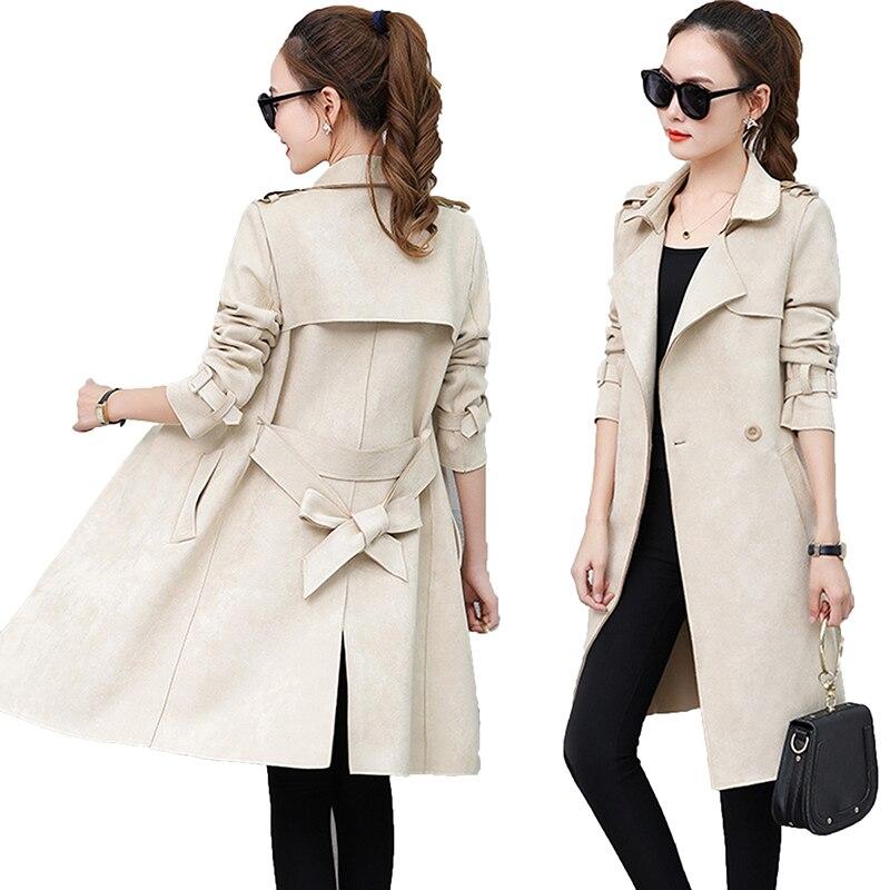 2019 nouveau automne daim Trench manteau femmes Abrigo Mujer Long élégant Outwear femme pardessus Slim rouge daim Cardigan Trench