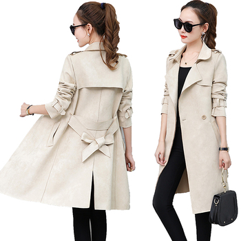 New Autumn Suede Trench Coat Women Abrigo Mujer Long Elegant Outwear Female Overcoat Slim Red Cardigan