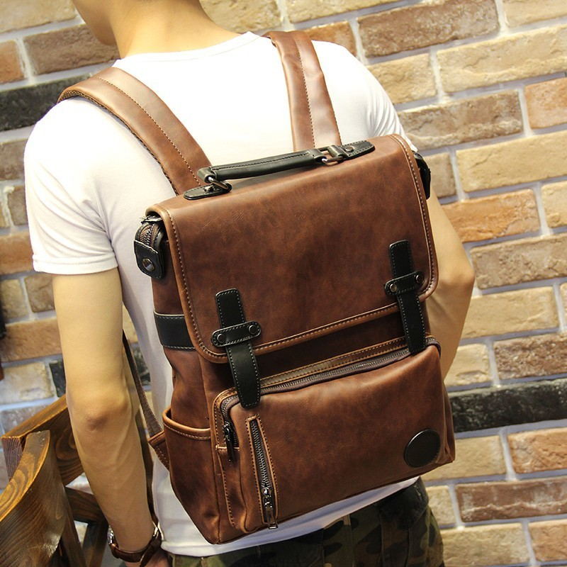 New Style Crazy Horse Leather Student School Backpack Men Casual Rucksack Laptop Notebook Ipad Back Pack Vintage Brown Bag Men's Bags Luggage & Bags