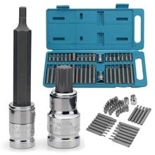 40Pcs 1/2 3/8 Adapter Drive Shank Hex Torx Xzn Spline Ster Impact Socket Set Metrische Socket Set ratchet Driver Dopsleutel