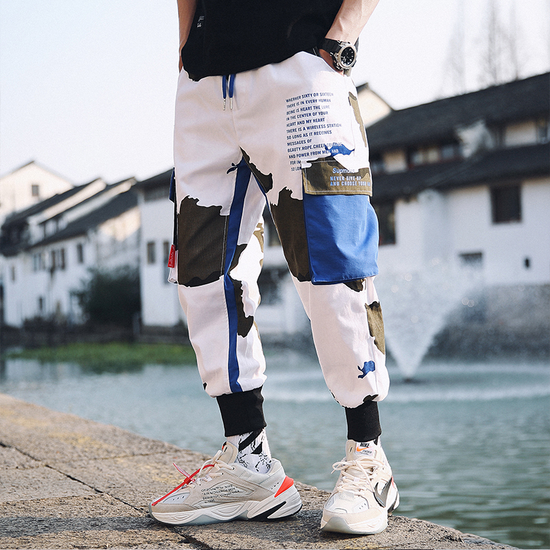 Casual Trousers Track-Pants Loose Joggers Printed Hip-Hop Man Streetwear Men Fashion
