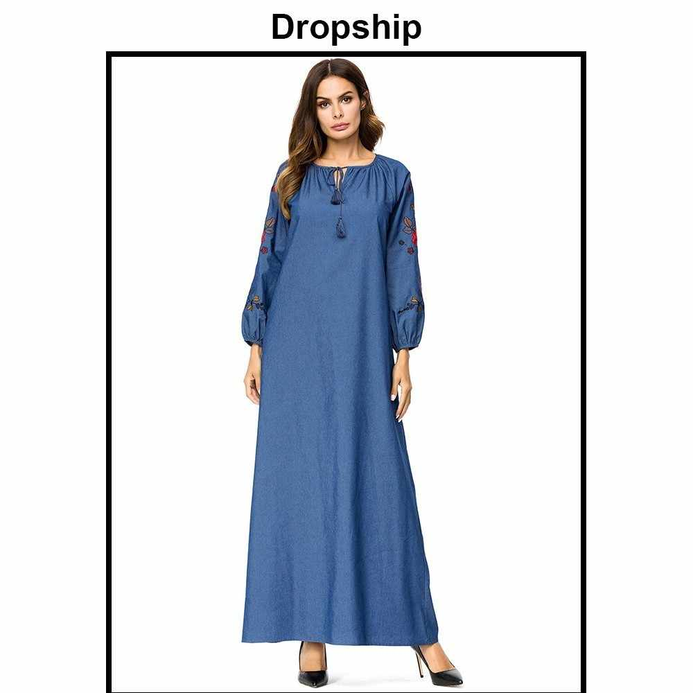 d8312f925f40b Dropship Dress Women Dresses Long Maxi Plus Size Vintage Vestidos Verano  2019 Robe Femme Denim Loose Embroidery Long Sleeve
