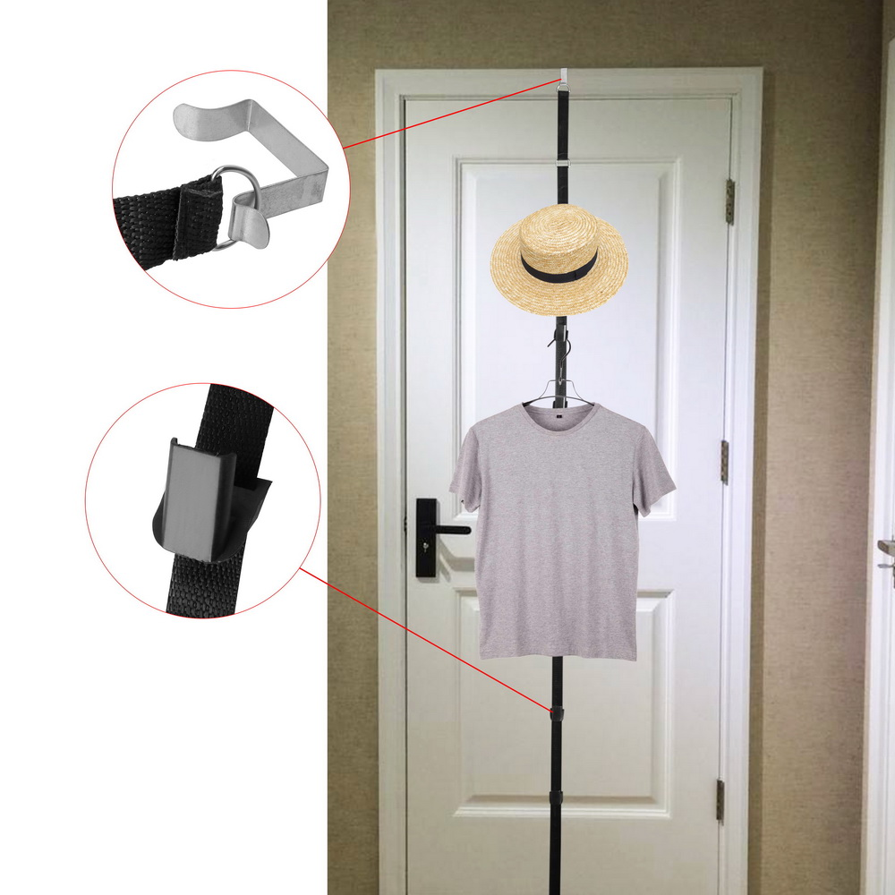Hat Bag Organizer Home Accessories Adjustable Over Door Straps Hanger Hook Towel Coat Storage Holder With 8 Hooks Cap Rack