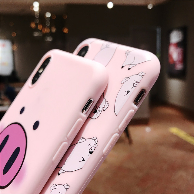 Cute Pig Phone Case For iPhone Couples Cartoon Soft TPU Silicone Back Cover 3