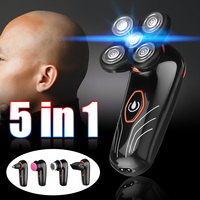 5pcs 4D Electric Shaver Washable 5 Heads Bald Head Shaver Nose Hair Trimmer Clipper USB Rechargeable Shaving Machine for Men