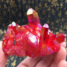 Natural electroplating colorful rainbow red crystal cluster column degaussing purification lucky Feng Shui ornaments