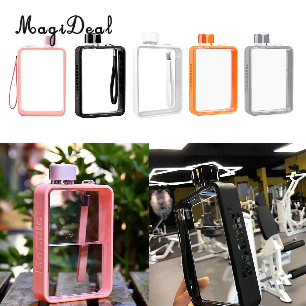 MagiDeal Clear Book Portable Paper Pad Water Bottle Flat Drinks Kettle 5 Colors to Choose