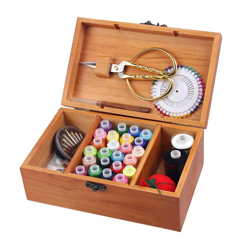 1pc Multi function Sewing Box Set Sewing Kit Needle Scissor Threads Fabric Wooden Crafts Creative Gift Wood Storage Box