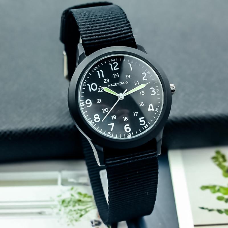 Nazeyt Free Shipping Unisex Canvas Strap Quartz Sports Wristwatch High Quality Student Xmas Birthday Nylon Luminous Hands Clock