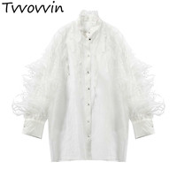 TVVOVVIN Spring Feathers Patchwork Women Blouse Stand Lantern Sleeve Ruffles Loose Shirt Female Fashion 2019 Casual New AS920