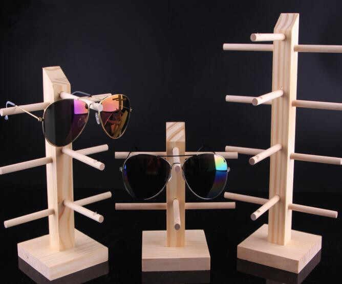 Gran oferta gafas de sol de varias capas de madera estante de exhibición gafas de exhibición soporte de joyería para múltiples pares escaparate de gafas