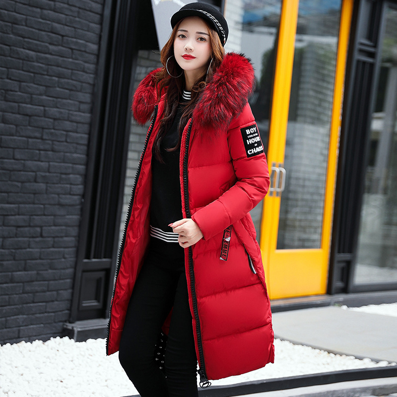 2018 Women's Down   Parkas   Winter Jacket Big Fur Collar Thick Slim Coat Fashion Hooded Cotton Outerwear Long Winter Woman Coat
